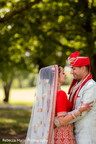 Most romantic indian bride and groom's first look capture