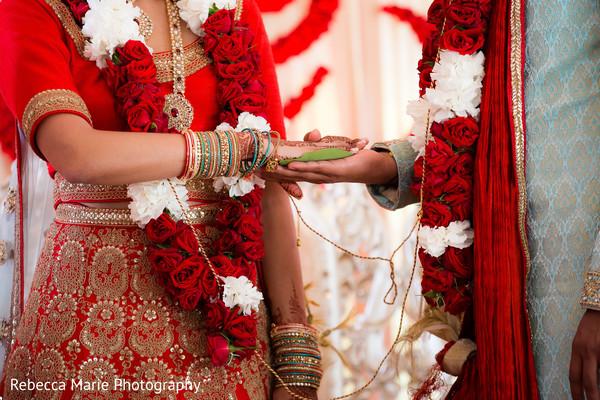 Indian bride and groom's wedding ritual