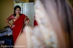 indian bridesmaids,red sari,getting ready