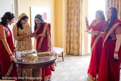 red sari,golden sari,getting ready