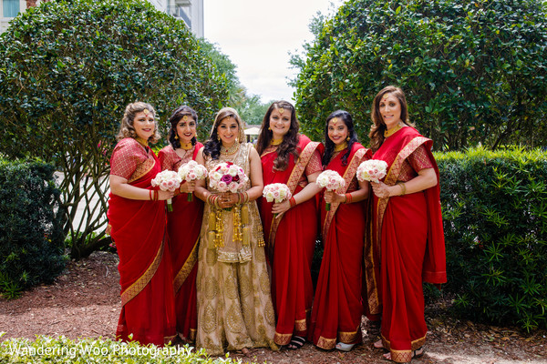 red and gold sari,indian bridesmaids fashion