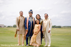Indian groom with his family