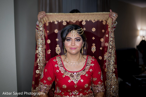 Traditional indian bride's ghoonghat