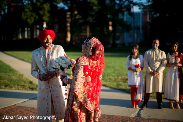 Indian bride and groom's joyful first look moment