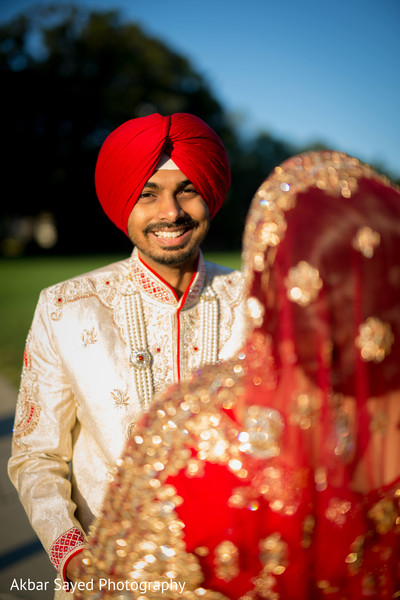 Indian bride and groom's romantic moment