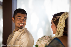 indian bride and groom,indian bridal bouquet,first look photography