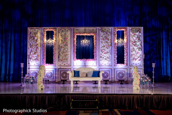 indian wedding reception,planning and design,wedding stage,floral and decor