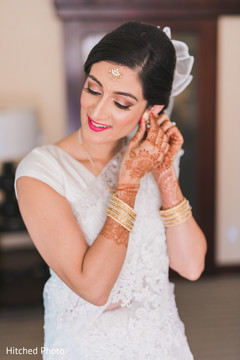 indian bride,getting ready,hair and makeup,white saree
