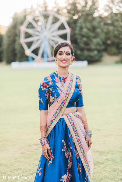 blue lengha,bridal fashion,floral lengha