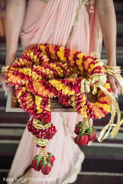 Colorful Hindu wedding flower garlands.