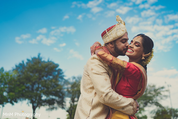 Most romantic indian bride and groom's first look