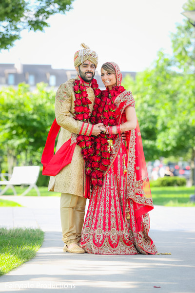 Heavenly Indian newlyweds portrait.