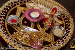 Indian wedding ceremony items.