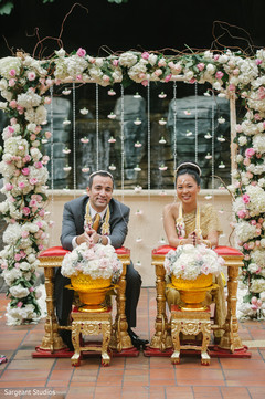 Indian Thai  bride and groom.