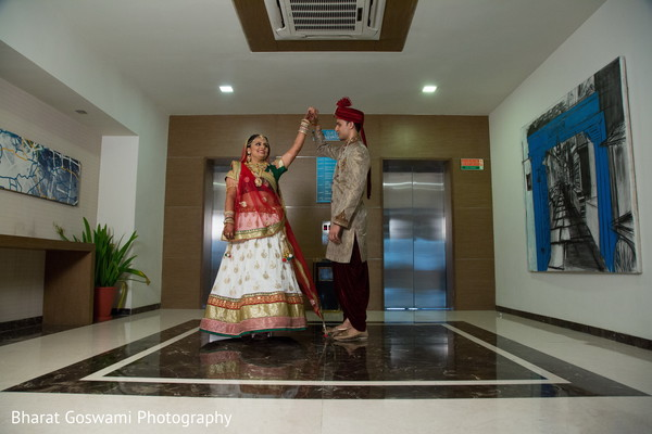 Lovely indian couple during their first look