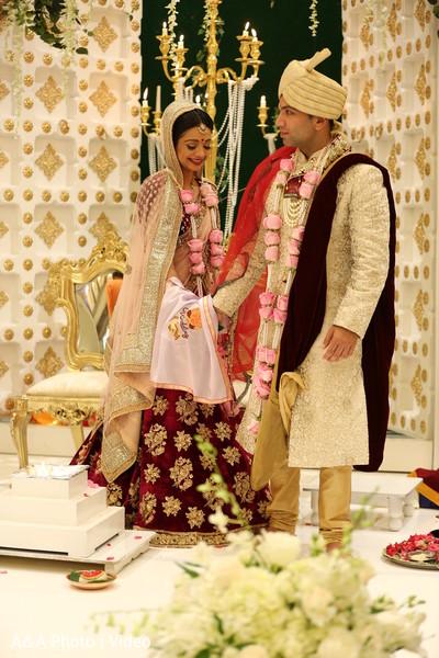 Indian bride and groom's saptapadi ritual