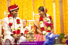 indian bride and groom,indian wedding ceremony,floral and decor