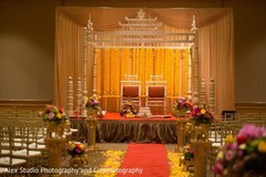 indian bride and groom,indian wedding ceremony,floral and decor,mandap