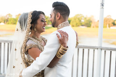 Adorable Indian bride and groom first look.
