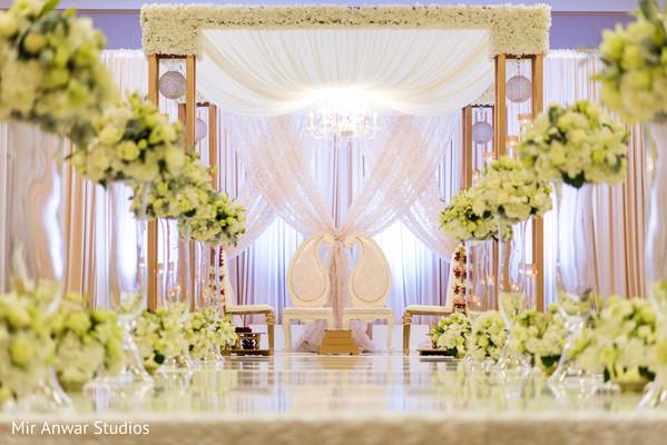 Magical white Indian wedding ceremony mandap.