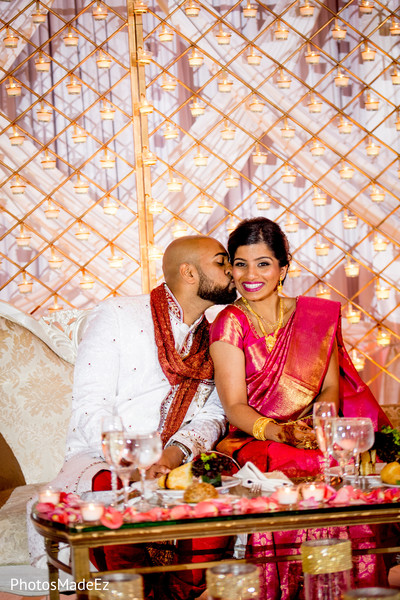 Cutest indian lovebirds at wedding reception