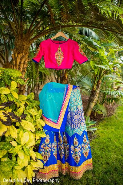 Multicolored bridal lehenga.