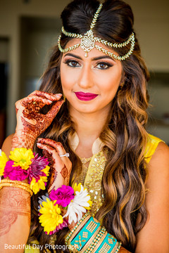 indian bride,flower jewelry,bridal mehndi,hair and makeup