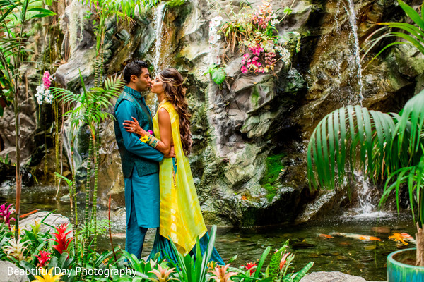 Magical outdoor Indian bride and groom photo.
