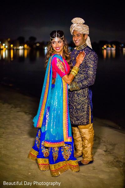 Sangeet Indian bride and groom look.
