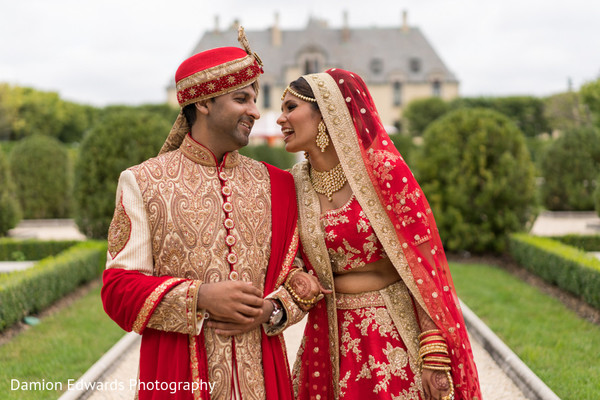 Fairy-tale Indian bride and groom.