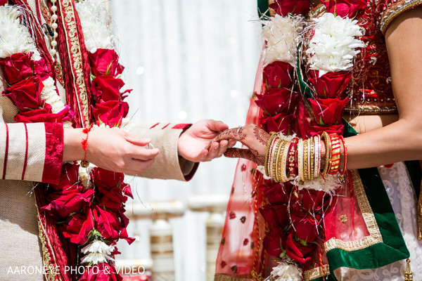 Indian wedding ring exchange scene