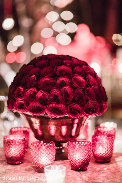 Precious red roses floral centerpiece.