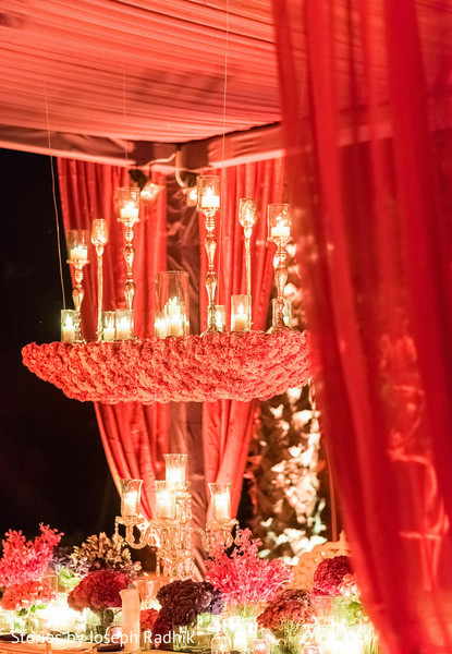 Luxurious Indian wedding reception floral and  decor.