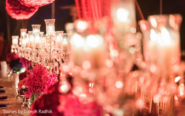 Decadent Indian wedding reception decor.