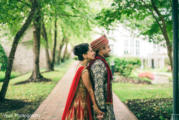 Sweet indian couple during their first look