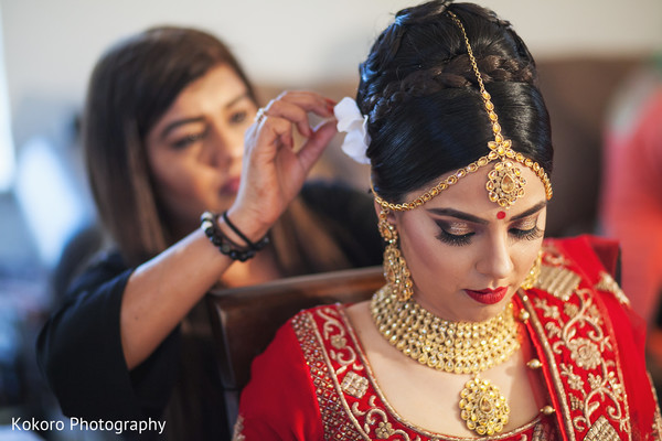 Sweet indian bride getting ready