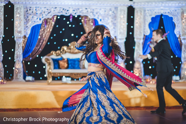 blue lengha,indian wedding reception