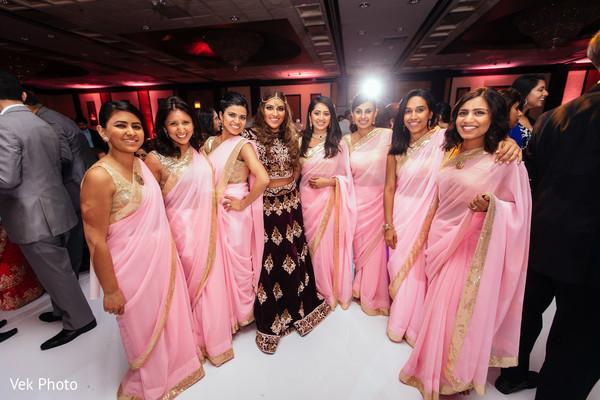 indian bride,indian bridesmaids,indian wedding reception