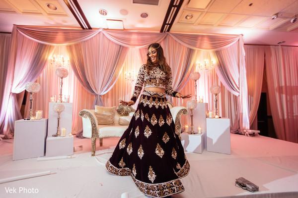 indian bride,indian wedding reception,floral and decor,dj