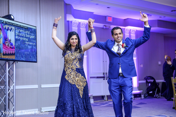 Glamorous indian couple making their entrance to wedding reception in Mahwah, NJ Indian Wedding by House of Talent Studio
