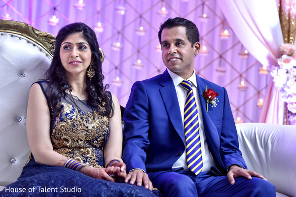 Lovely indian couple enjoying their wedding reception. in Mahwah, NJ Indian Wedding by House of Talent Studio