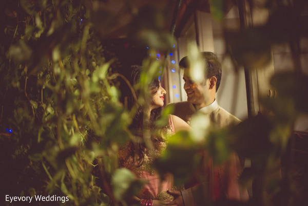Indian bride and groom romantic moment