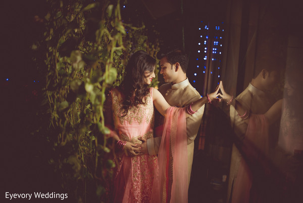 Indian bride and groom intimate moment