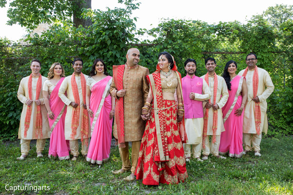 indian bride and groom,indian bridesmaids and groomsmen