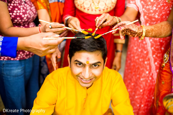 Indian Groom Is Smeared In Yellow Turmeric Paste At His First Wedding Ceremony Ritual Savannah