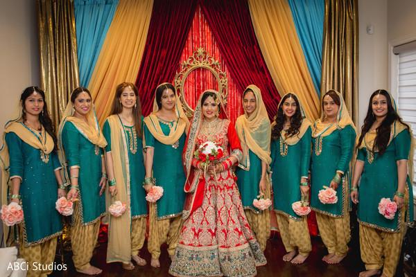 Indian bride's bridal party.