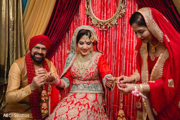 Indian bride pre-wedding ceremony ritual.