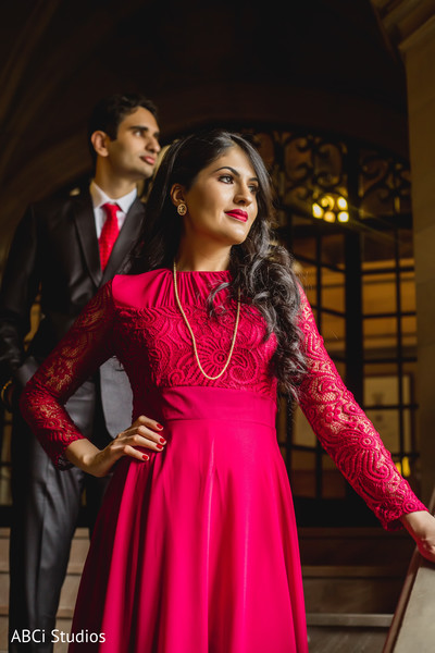 Splendid Indian wedding engagement portrait.