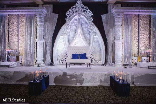 Marvelous white Indian wedding stage.