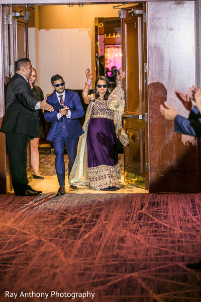 Upbeat indian bride and groom's entrance